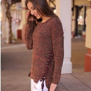 Infinity Raine Terra Cotta Marled Lace Up Sweater